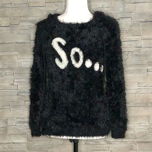 Freya black fuzzy hooded sweater